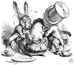 The Mad Hatter stuffing a teapot
